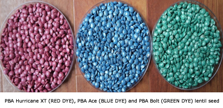 PBA Hurricane XTA (RED DYE), PBA AceA (BLUE DYE) and PBA BoltA (GREEN DYE) lentil seed